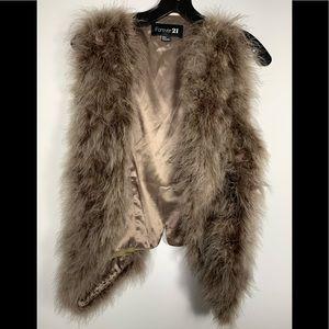 Forever 21, taupe, Medium Faux fur vest